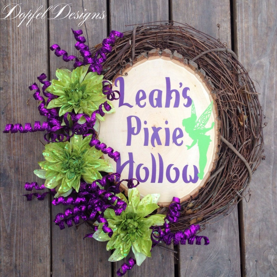 Pixie hollow tinkerbell birthday wreath by dopfeldesigns for Tinkerbell fairy door