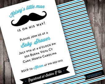 Baby Stache Digital Baby Shower Invitation
