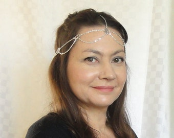 Silver chain headchain, Boho head jewelry, Chic head piece, Silver head chain, Chain headpiece, Silver headpiece