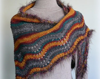 Multicolor Handmade Knit Shawl