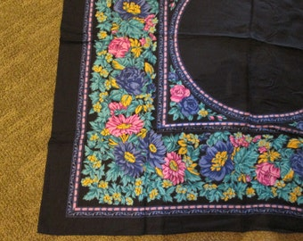 Vintage Cotton Scarf-Black Background, Blue and Mauve Flowers, With Teal Leaves