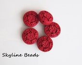 5 Cinnabar Carved  Lacquerware Beads - Beautiful Acrylic - Flat Round  - Asian heritage