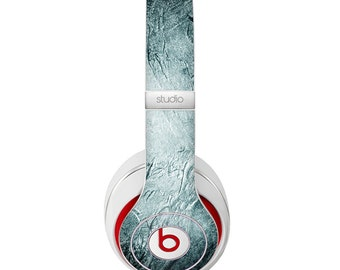 The Grungy Teal Wavy Abstract Surface Skin for the Beats by Dre Headphones (All Versions Available)