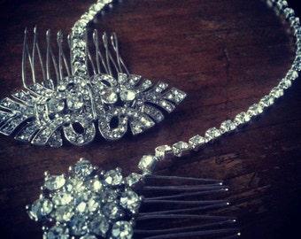 Silver Bridal Brow Band Draping Diamante Hair Comb Forehead Bun Wrap Boho Vintage Gatsby
