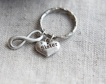 SALE, Sister Keychain, Birthday Gift for Sister, Sister Keyring, Heart Sister Keyring, Sister's gift, Sister Gift, Christmas Gift for Sister