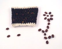 Crochet Cup Cosy, Black and Cream Reusable Wool Coffee Sleeve.