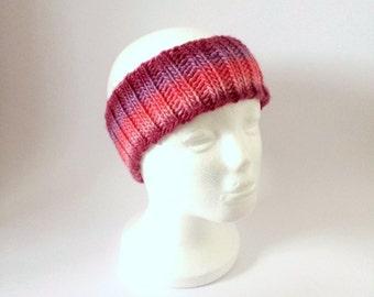 Pink Maroon Ear Warmer, Hand Knit Wool Headband Hair Accessory For Girl Or Woman.