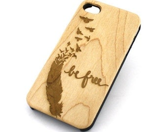 W93 Real Wood W Plastic Case Cover For Iphone 4 4s Be Free (Sparrow)