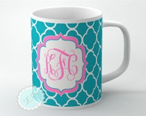 Monogrammed Coffee cup - Pink monogram on Turquoise clovers customized coffee mug + FREE COASTER - 94