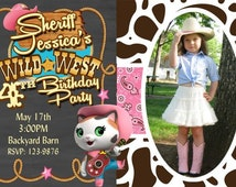 Sheriff Callie's Invitation Birthday Party Invitation Cow Print You Print  Digital Invitation 4x6 or 5x7
