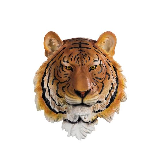 Orange Tiger Head With Black Stripes Resin Faux Taxidermy
