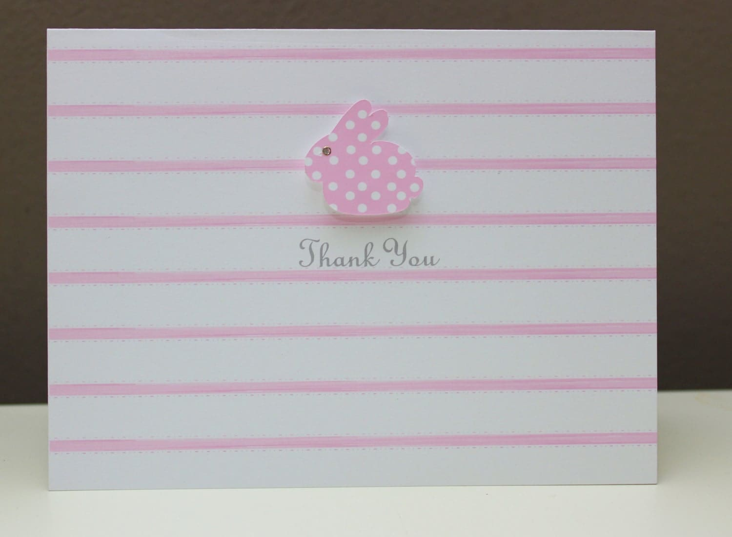 bunny baby shower thank you or gift note card pink blue