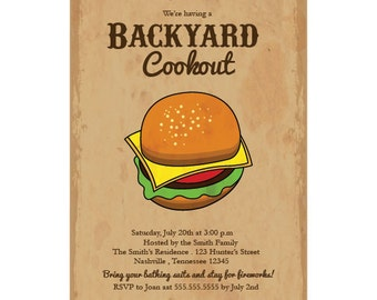 Backyard Cookout Burger Party Invitation