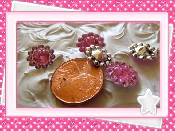 0: )- CABOCHON -( Rhinestone Pink Jewels Flower Round
