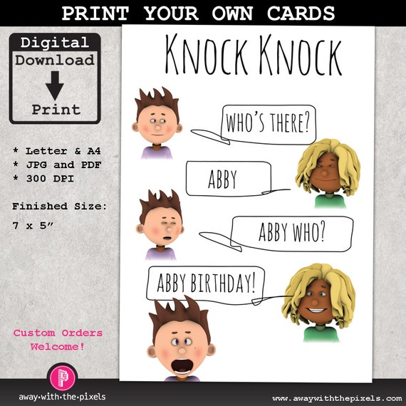 Knock Knock Joke Abby Greeting Card For Kids By