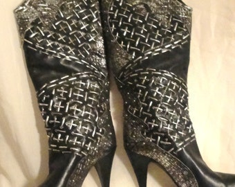 Vintage High Heel Knee High Black Leather Boots with Silver