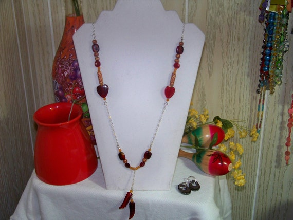 Necklace - Red Feathers, Orange Jade, Glass, Wood, Chain