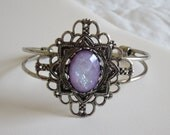 Antique Silver Cuff Bracelet Embellished with A Lilac Opal Acrylic Cabochon
