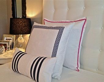 Pink Euro Sham~White Euro Sham~White Pillowcase~Frame Lumbar Pillow~Pom Pom Pillow~Bedding~ Color Options Available