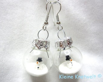Snowman earring glass ball for winter christmas fashion jewelry