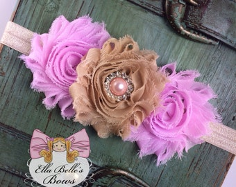 Pink and Tan Shabby Chic Headband