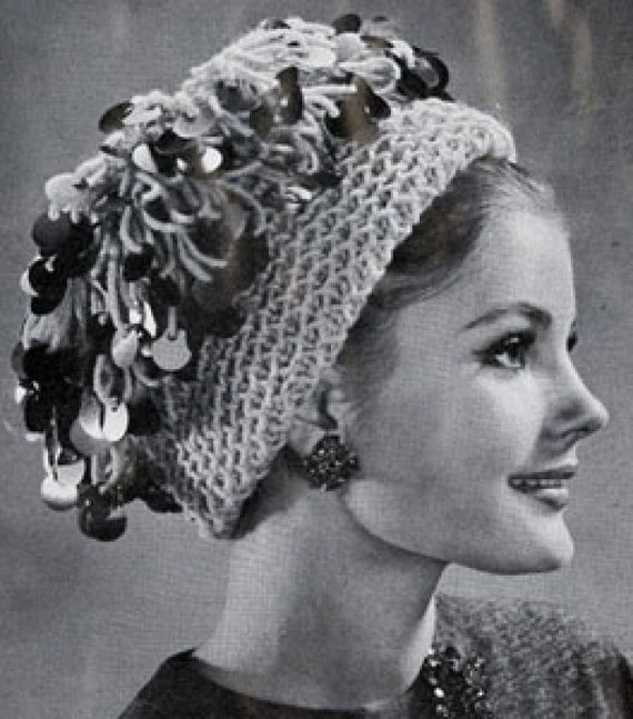 Knitting Vintage Things : Items similar to loopy hat vintage knitting pattern
