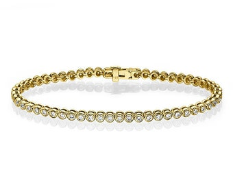 Bezel Diamond Bracelet, Diamond Tennis Bracelet, 14k Yellow gold Bracelet, Gold Diamond bracelet