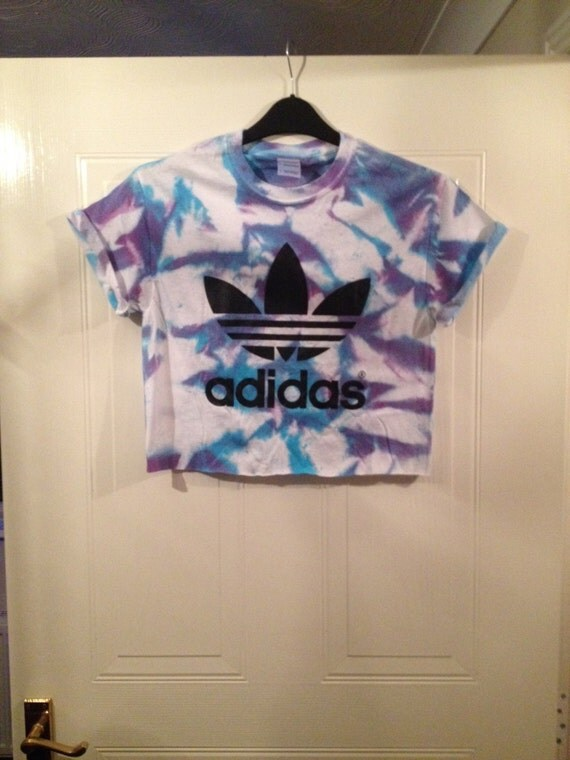 Unisex customised adidas acid wash tie dye cropped t shirt for How to wash tie dye shirt after dying