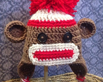 Children's Sock Monkey Hat w/ Earflaps and Ties