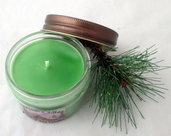 Pine candle, soy candle, jar candle, scented soy candle, winter candle, 4 oz candle, container candle, christmas candle, pine forest candle