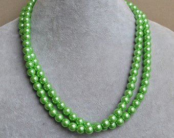 green pearl Necklaces,Glass Pearl Necklace, two strangs Pearl Necklace,Wedding Necklace,bridesmaid necklace,Jewelry