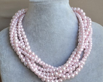 pearl Necklace,pink Glass Pearl Necklace, 6 rows Pearl Necklace,Wedding Necklace,bridesmaid necklace,pink glass pearl necklace.Jewelry