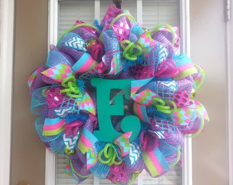 Personalized Everyday Deco Mesh Wreath with Initial of Choice