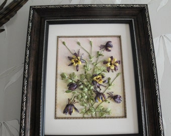 "Silk ribbon embroidery ""Aquilegia'"