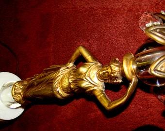 Exquisite Vintage Roman/Greek Goddess Neo-Classical Woman Figure Lamp - Stunning Brass Female Figurine Statuette