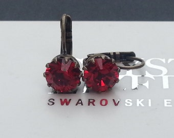 Light Siam RED Leverback Earrings made with swarovski crystal elements