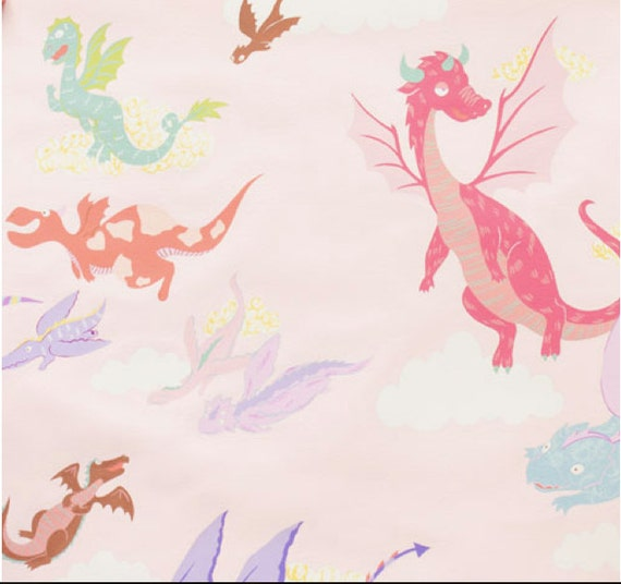 The dragons in pink 100 cotton fabric by alexander henry for Celestial fleece fabric