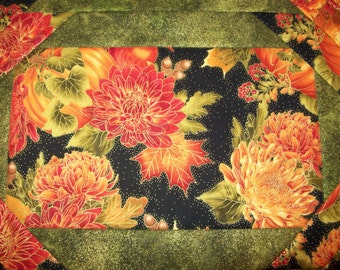 Fall or Thanksgiving quilted placemats made from beautiful, coordinating fabrics