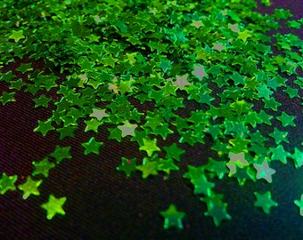 solvent-resistant glitter shapes-emerald green stars