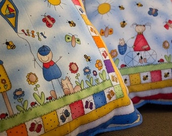 Decorative Stuffed Pillows - Boy with Kite and Girl on Bike