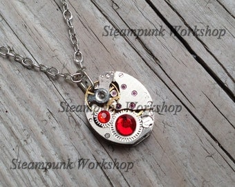 Handmade STEAMPUNK Pendant Necklace With Vintage Watch Movement and Swarovski