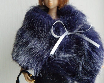 MOMOKO faux fur shawl , handbag and dress set by Jing's crafts