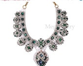 Shourouk Inspired Chunky Statement Necklace Crystal Emerald Jewelry, Bubble Luxury Sapphire Necklace, Choker Fashion Necklace (N0932)