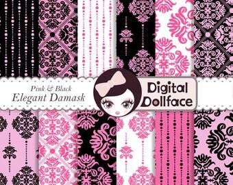 Pink and Black Damask Pattern, Digital Paper, Printable Scrapbook Paper