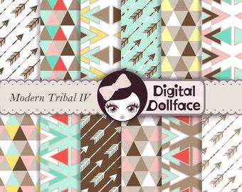 Geometric Triangle Digital Paper Pack, Modern Scrapbook Paper, Digital