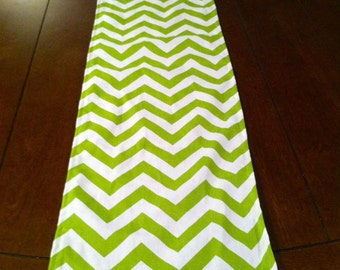 Green and White Table Runner