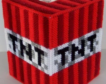 MINECRAFT TNT - Video Game Craze - Boutique Size Tissue Box Cover - Needlepoint on Plastic Canvas