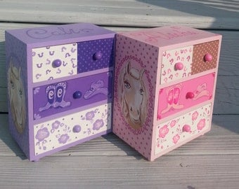 cowboy girl, personalized, child's jewelry box, purple, birthday gift, flower girl gift, bridesmaid gift