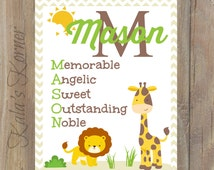 JUNGLE NURSERY ART - Jungle Nursery Decor - Jungle Nursery Print - Baby Name Print - Personalized Nursery - Custom Nursery Decor