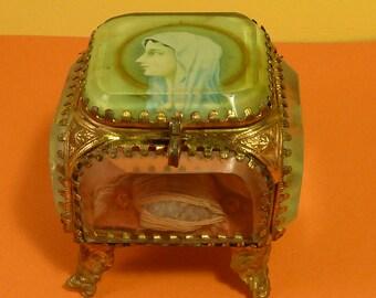 Antique French Glass Ormolu Trinket Box Casket Virgin Mary jewelry box